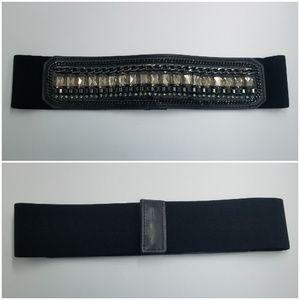 BCBGMaxAzria Wide Crystal & Chain Elastic Belt NWT